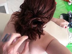 redhead girl experiencing anal