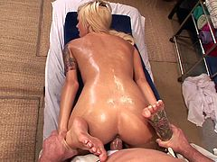 Emma relaxes and lets this guy run his hands all over her tight, oiled up body then he finishes the massage with some hardcore fucking.