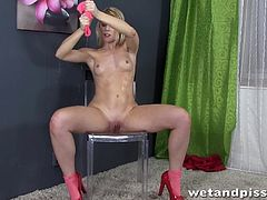 If you like seeing naked girls masturbating, then this is what you'll get! Enjoy watching a blonde slutty chick ass. Her shaved pussy looks very appealing. Pissing on a chair and cleaning with the pink shirt, introduces you to a hotter atmosphere. Especially when she rubs her skin and boobs with the clothes. Watch!