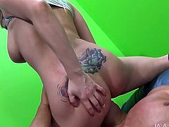 Christie Stevens is an unbelievably horny blonde with a never ending sex drive. Lustful nympho sits on her lover's face to let him get a taste of her delicious pussy. Horny dude licks her twat passionately like a true pussy eater.