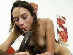 Amber Rayne has anal fun with hard dicked dude Wesley Pipes after she gets her throat banged