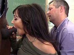 This black teacher meets the parents of a pupil. Soon they forget all about school since she wants his cock bad. Her mom pussy and ass hole get filled while the husband watches them.