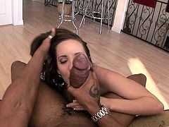 Get a load of this hot POV where the slutty Kelly Divine shoves this guy's black monster cock down her throat until he cums in her mouth.
