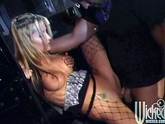 Make sure you have a look at this hardcore scene where the slutty blonde Jessica Drake sucks on this guy's big cock before being nailed by it.