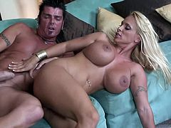 Make sure you have a look at this hardcore scene where the busty blonde milf Holly Halston is eaten out by this guy before he pounds her wet cunt.