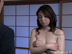 Horny Midori Takashima masturbates in a bedroom. Her husband is on a business trip. So she has to shift for herself. This woman fondles her juicy boobs and toys the pussy with a vibrator.
