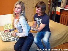 Take a look at this hardcore scene where this horny blonde teen is eaten out by this guy and fucked like never before as you hear her moan.