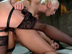 Wanna watch crazy bitches who use electricity playing dirty? If you are a fan, click to watch! There´s a hot slutty blonde wearing high heels who fucks hard in the ass her Asian pretty companion from behind. See the brunette girl screaming loudly when the vibrator gets in action!