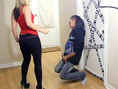 Ballbusting - Brutal Snap Kick to the Balls in High Heels