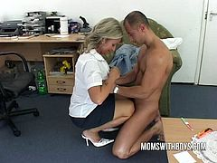 Busty blonde milf gets her tight ass blasted hard