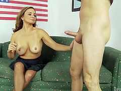 That young feverish guys likes mature bitches. He dates one busty chick and right now that zealous MILF enjoys getting her pussy banged in missionary style on office table. Have a look at this voracious whore in Fame Digital porn video!