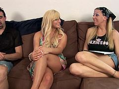 Blonde hotties Lexi Lamour and Chloe Chanel strip and fondle each other in the presence of some man. Then they give a blowjob to the guy and jump on his boner by turns.