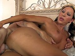 Long haired filthy shemale with big titties and pretty attractive button enjoyed getting button fucked in sideways style and from behind. Look at this disgusting TS sex in Fame Digital porn clip!