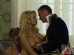 Make sure you have a look at this vintage video where these slutty blondes share this guy's thick cock in a threesome that'll make you pop a boner.
