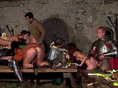 Linda Leggins, Lily Cross and Janet Joy are trying hard to please a few men in a vault. They suck their shafts and then get their pussies banged on a table.