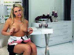 What are you waiting for? Watch this blonde babe, with a nice ass wearing a sexy bra, while she touches herself fervently until she cums.