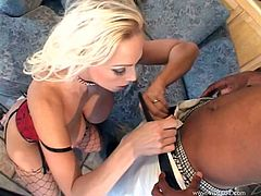 Kinky blonde Nikki Hunter wearing a corset and fishnet stockings gives a passionate blowjob to some black man. Then the dude drills Nikki's pussy and asshole and she enjoys it.