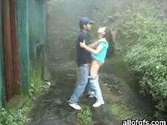 Nice blowjob outdoors by the dark haired young bitch