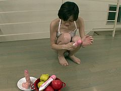 Small breasted Asian strumpet in orange thongs decided to satisfy her thirsting kitty and clit with several fuck toys. Just take a look at that hot Asian solo in Jav HD sex video!