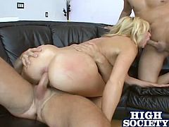 A nasty ass fuckin' blonde skank sucks on dicks and takes them in her holes right here in this amazing DP scene right here!
