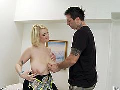 That chubby light haired hottie with eye catching boobies posed on her fourth and set to please her guy with awesome deep throat. Look at that passionate guy in Fame Digital porn video!