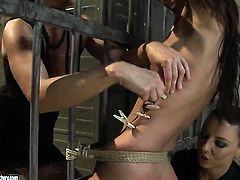 Brunette Betty Stylle with big melons gets the pleasure from licking Maria Belluccis hole
