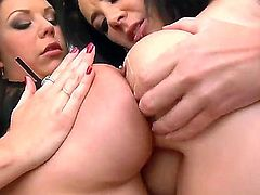 Two sexy chicks with big boobs have fantastic lesbian sex with petting and pussy licking. The girls begin with teasing each other with sloppy kisses and then have passionate sex