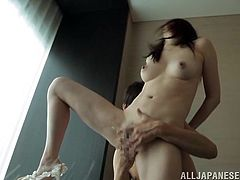 Horny Japanese mom Miki Torii wearing lingerie shows her big natural tits to some man. Then she squats and allows the guy to finger-fuck her juicy pussy.
