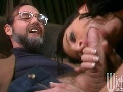Watch Lezley Zen in action as this slutty brunette sucks on this guy's big cock until he ends up cumming deep inside her mouth.
