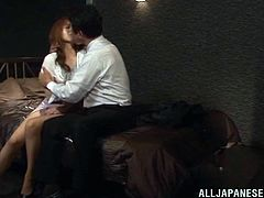 Beautiful Japanese girl Akiho Yoshizawa gives a blowjob to her man and lets him eat her smooth pussy. They fuck in cowgirl and missionary positions and enjoy it much.