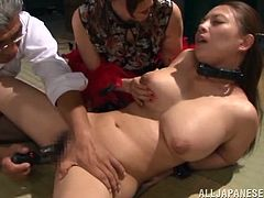 Two Japanese girls get tied up. Some old man toys their pussies and gets his dick sucked. Then these girls lick each others tits and pussies.