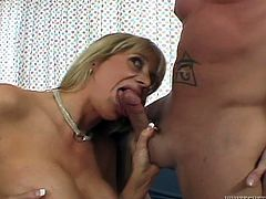 Sexy and naughty MILF in sexy lacy lingerie blows her boyfriend's cock and gets her hairy pussy fucked hard from behind.