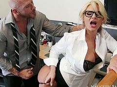 Hot tempered boss fondles his busty secretary. He spreads her buttocks and rims her sweet looking ass hole. Then he pushes his dick in her twat and fucks her doggy style.
