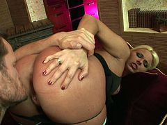 Superb blonde with incredible forms is about to have her holes gaped by her guy's massive dong