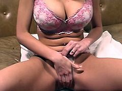 Enjoy big boobs goddess stimulating her shaved twat with a pussy pump
