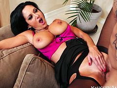 Stunning milfie Ava Addams flaunts her super curvy body in black nylon stockings. Bald dude Derrick licks her delicious pussy and fucks Ava missionary style.