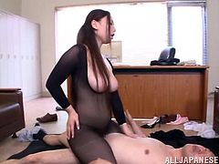 Horny Japanese office girl Sayuki Kanno wearing a fishnet bodystocking gives a great blowjob to a man. Then she stands on all fours and gets her twat pounded hard doggy style.