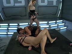Welcome to the pleasure and torture chamber! Three milf sluts with sado-masochist traits are highly addicted to bondage and domination. The blonde bitch has her arms tied and screams loudly because of the pain provoked by an anal insertion. Click to see more terrific and explicit content only here!