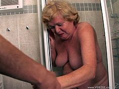 Check out this hardcore scene where this slutty blonde granny by the name if Alice sucks on this guy's hard cock before he fucks her and leaves her filled by semen.