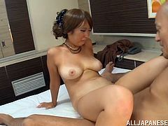 Salacious Japanese milf Miku Sunohara and some dude caress each other in the bathroom. Then they go to the bedroom and have oral sex before banging in missionary and cowgirl positions.