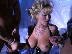 Have fun with this hardcore scene where the sexy blonde Jill Kelly is fucked silly by two big cocks in a threesome that leaves her out of breath.