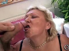 Make sure you don't miss this fat granny having some nasty fun with two younger guys. Watch as she gets on her knees and starts to blow their stiff cocks like a pro.