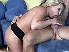 Check out this hardcore scene where the busty blonde Rachel Love titty fucks this guy before sucking and fucking his large cock.