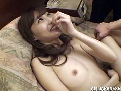 This cute and nubile young Japanese babe, opens her legs for her man, and he puts his cock deep inside her hairy pussy hole. She really enjoys a good hard fucking. After a pounding, she wraps her lips around his cock and sucks him off.