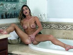 Prepare your cock for this long haired cougar, with a nice ass and big love pillows, while she touches herself until she has an orgasm.