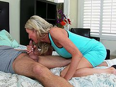 No other blondie can please cock with tongue and lips like this cougar does. Cum-addicted MILF sucks her lover's dick greedily paying special attention to his balls.