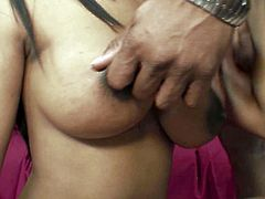 Flamboyant black girl teases her man with her natural C cup tits and big brown areolas. Torrid honey polishes fat BBC with her mouth and gets her kitty pounded doggystyle.