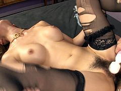 This attractive Japanese babe with nice body and in sexy stockings gets her tight butthole fucked hard being her clitoris stimulated by the dildo. Have a look at this babe in Jav HD sex video.