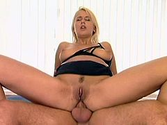 Slutty blonde Stephanie 4 is having fun with a horny guy indoors. She admires him with her blowjob skills and they have anal sex in the side-by-side position.