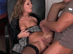 Take a look at this hardcore scene where the horny blonde Lauryn May is fucked in the ass by a guy with a thick cock as you can see her getting very wet.